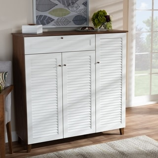 Coolidge Modern and Contemporary 11-Shelf Shoe Cabinet with Drawer