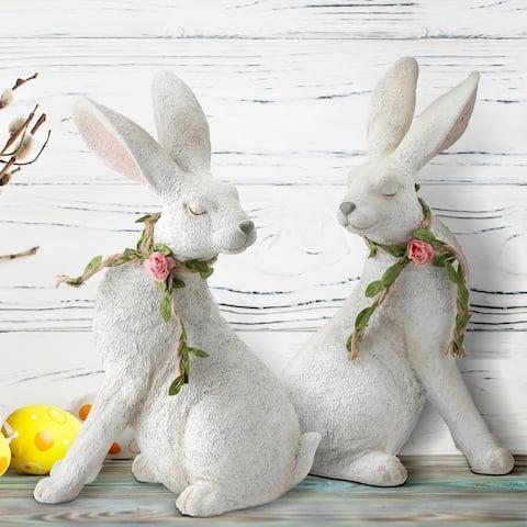 "Resin Floral Garland Bunny 9"" Set of 2"