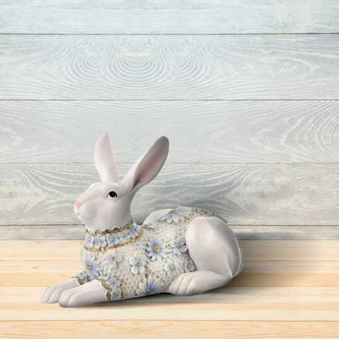 """Resin Floral Dressed Laying Bunny 7"""""""