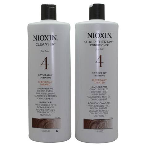 Nioxin System 4 Cleanser + Scalp Therapy, Fine Hair 1 Liter DUO