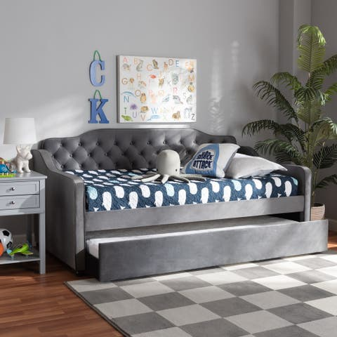 Freda Traditional and Transitional Upholstered Daybed with Trundle