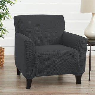 Link to Great Bay Home Jenga Knitted Jacquard Stretch Chair Slipcover Similar Items in Slipcovers & Furniture Covers