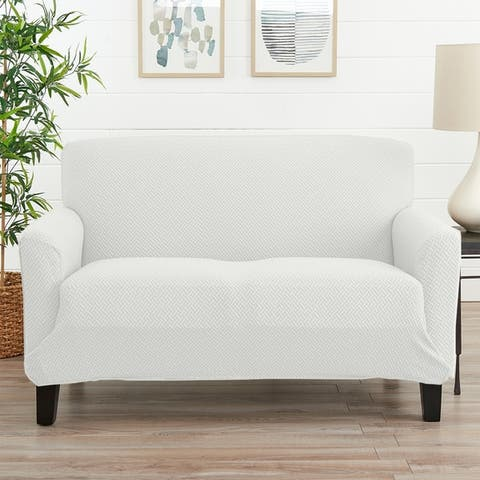 Great Bay Home Jenga Knitted Jacquard Stretch Love Seat Slipcover