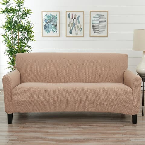 Great Bay Home Jenga Knitted Jacquard Stretch Sofa Slipcover