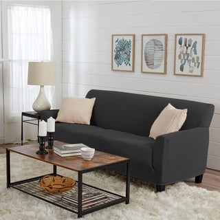 Link to Great Bay Home Jenga Knitted Jacquard Stretch Sofa Slipcover Similar Items in Slipcovers & Furniture Covers
