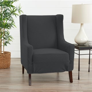 Link to Great Bay Home Jenga Knitted Jacquard Stretch Wingback Chair Slipcover Similar Items in Slipcovers & Furniture Covers