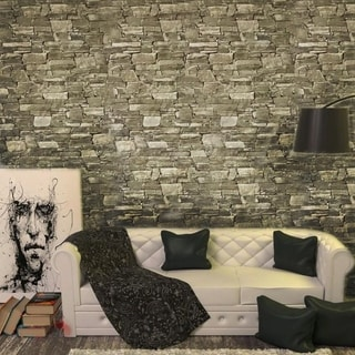 Link to Wallpaper textured taupe brown gray modern faux stone brick 3D Similar Items in Wall Coverings
