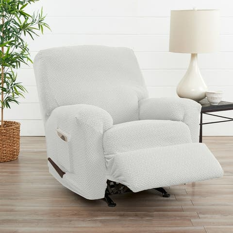 Great Bay Home Jenga Knitted Jacquard Stretch Recliner Slipcover