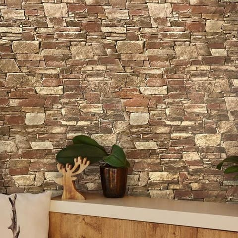 Wallpaper textured Brown Red modern faux stone 3D brick roll