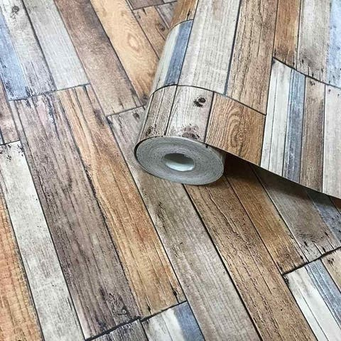 Textured Wallpaper Brown Gray Faux Vintage Rustic barn Distressed Wood