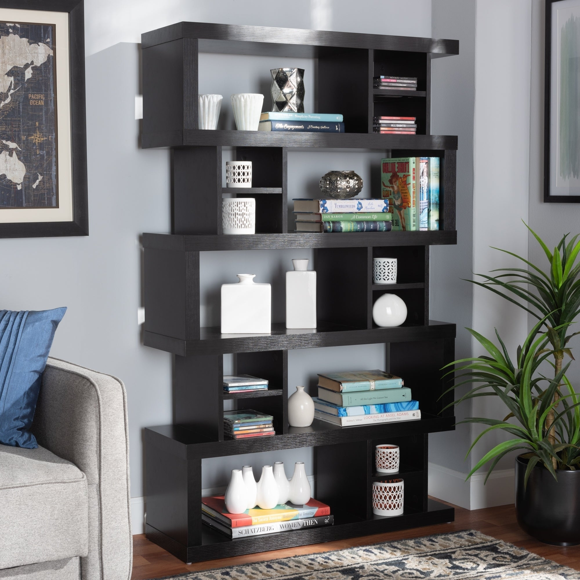Shop Dora Modern And Contemporary 5 Tier Geometric Bookshelf On