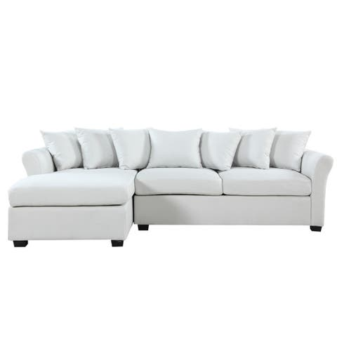 Large Linen Fabric Sectional Sofa with Left Facing Chaise Lounge