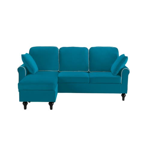 Traditional Small Space Velvet Sectional Sofa Reversible Chaise, Teal