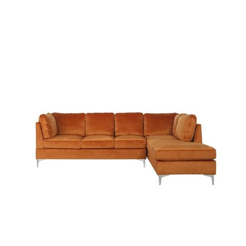 """Classic 101.1"""" Microfiber Velvet L Shape Couch, Right Facing Chaise"""