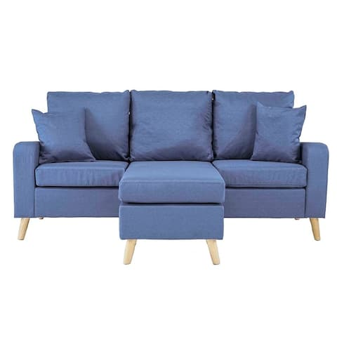 Mid Century Style Small Space Reversible L-Shape Sectional Sofa