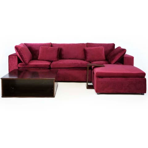 Modern Configurable Velvet Sectional Sofa w/ Wooden Side, Coffee Table