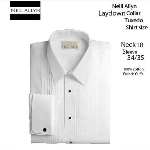 Men's Laydown Collar Tuxedo Shirt, Size 18 Neck 34/35 Sleeve 100% Cotton - 18 34 X 35