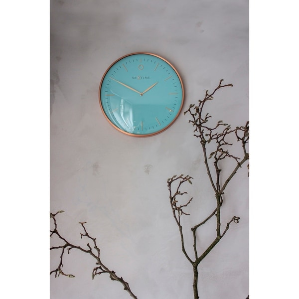Unek Goods NeXtime Glamour Metal Dome Wall Clock, Round, Aluminum and Glass, Turquoise and Rose Gold, Battery Operated