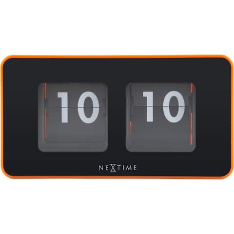 Unek Goods NeXtime Flip Table/Wall Clock, Shiny Orange, Rectangle, Battery Operated