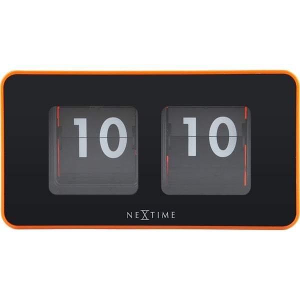 Unek Goods NeXtime Flip Table/Wall Clock, Shiny Orange, Rectangle, Battery Operated