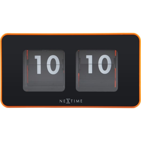 Unek Goods NeXtime Flip Table/Wall Clock, Shiny Orange, Rectangle, Battery Operated. Opens flyout.