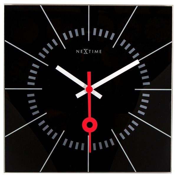 Unek Goods Nextime Stazione Wall Clock, Square, Glass, Black Face with White and Red Hands, Battery Operated
