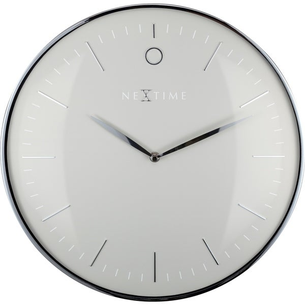 Unek Goods NeXtime Glamour Metal Dome Wall Clock, Round, Aluminum and Glass, Grey and Silver, Battery Operated