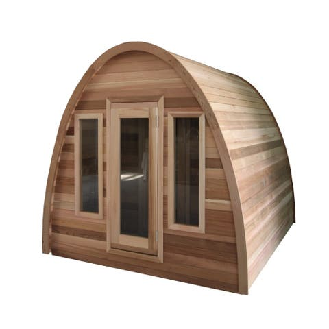 ALEKO Outdoor Red Cedar 8 Person Steam Sauna with Roof and Heater - 7.9 x 6.9 x 6.9 Feet