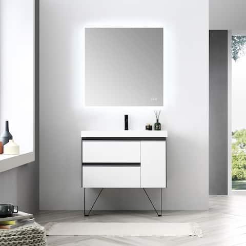 """24"""" / 30"""" / 36"""" Floating / Wall Hung Vanity Set With LED Mirror"""