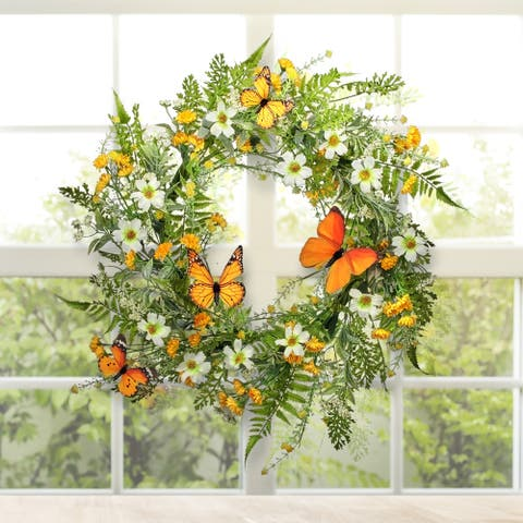 """Mixed Daisy & Monarch Wreath 22"""""""