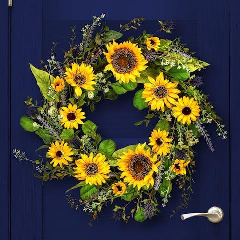 "Sunflower & Thistle Wreath 24"""