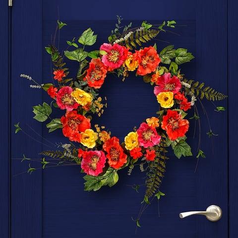 "Colorful Garden Mix Poppy Wreath 24"""