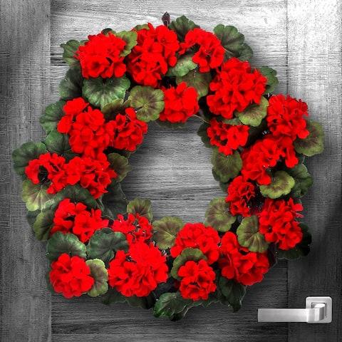 "Velvet Mature Geranium Wreath 24"" Indoor/Outdoor"