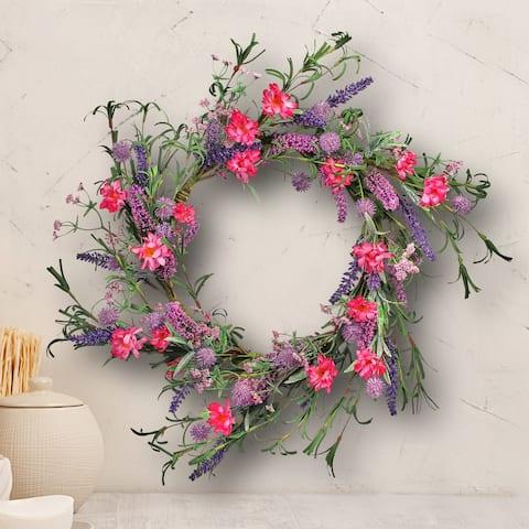 "Corn Flower & Lavender Wreath 22"""