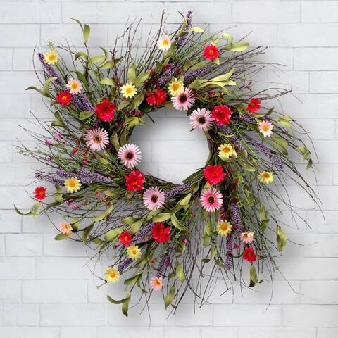 "Daisy & Lavender Wreath 24"""