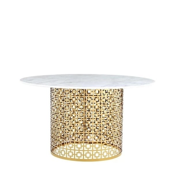 Faux Marble circle with gold base Dining table
