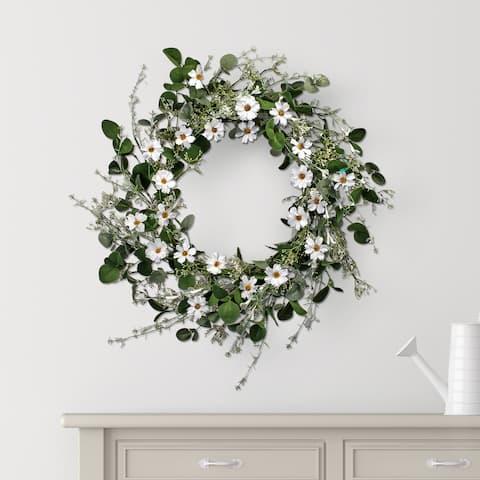 """Daisy & Honeysuckle Wreath 26"""""""