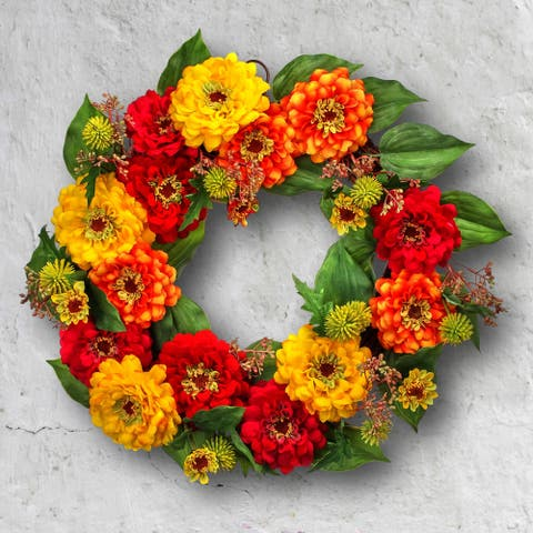"Mixed Zinnia & Echinops Wreath 18"""