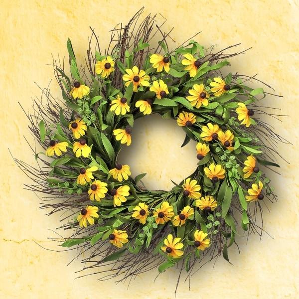 """Black Eye Susan Wreath 24"""". Opens flyout."""