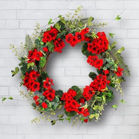 """Geranium / Fern / Willow Wreath 22"""""""