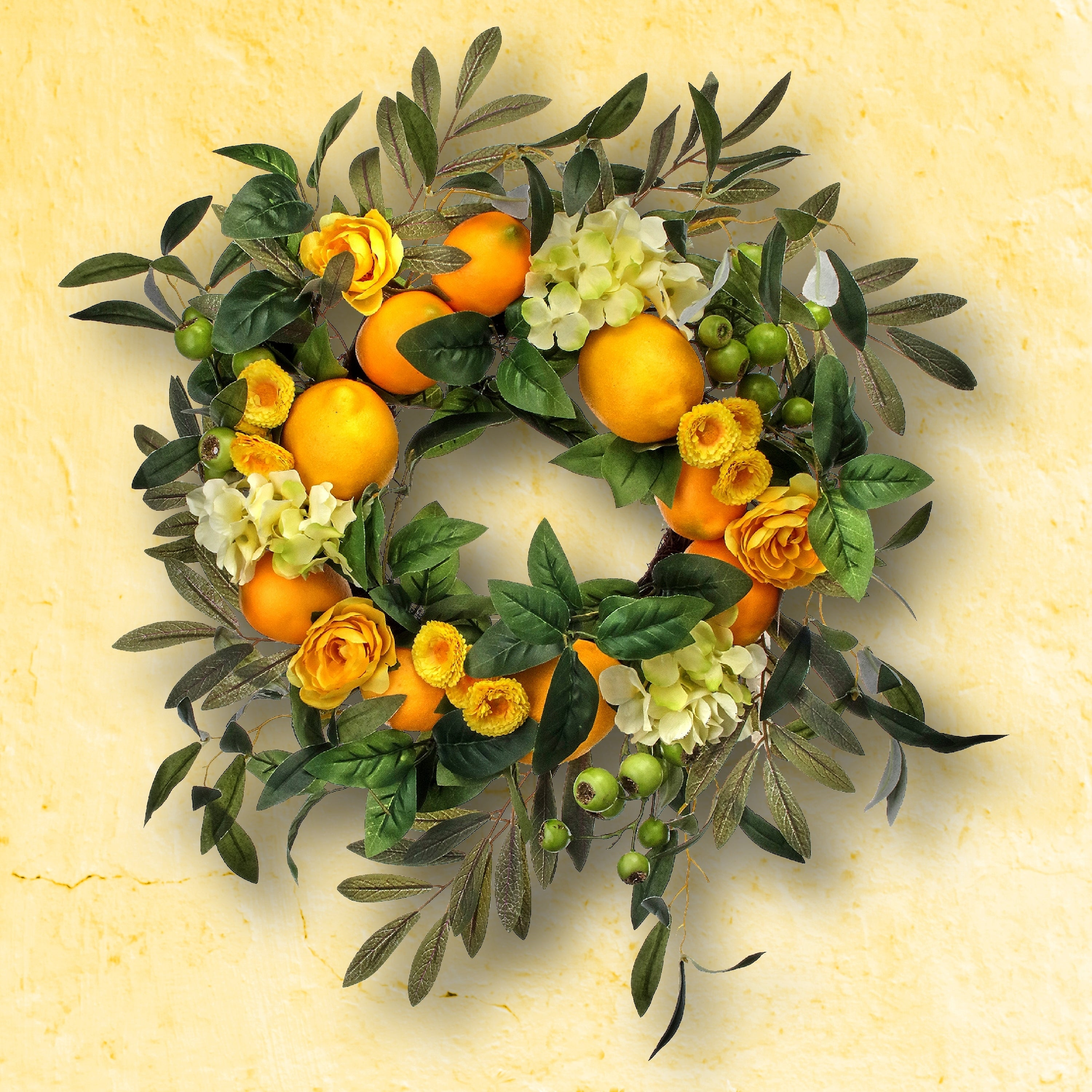 Lemonberry wreath with greenery and white flowers spring and summer wreath