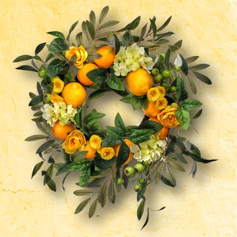 Hydrangea Lemon & Berry Wreath 18""
