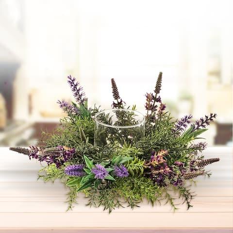 Mixed Lavender Glass Candleholder