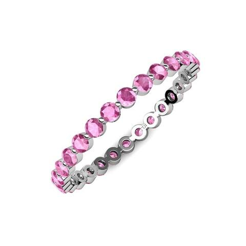 TriJewels Pink Sapphire 1 ctw Womens Eternity Band 14KW Gold