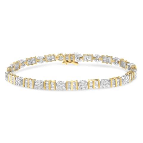 14K Two-Toned Gold 3 3/8ct. TDW Diamond Tennis Bracelet (H-I,I1-I2)