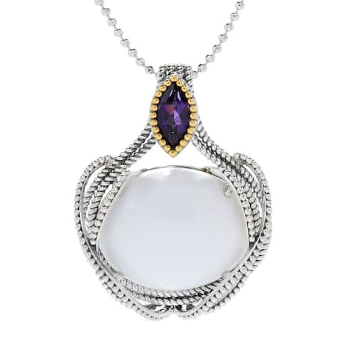 Pinctore 925 Sterling Silver White Magnesite,African Amethyst Pendant