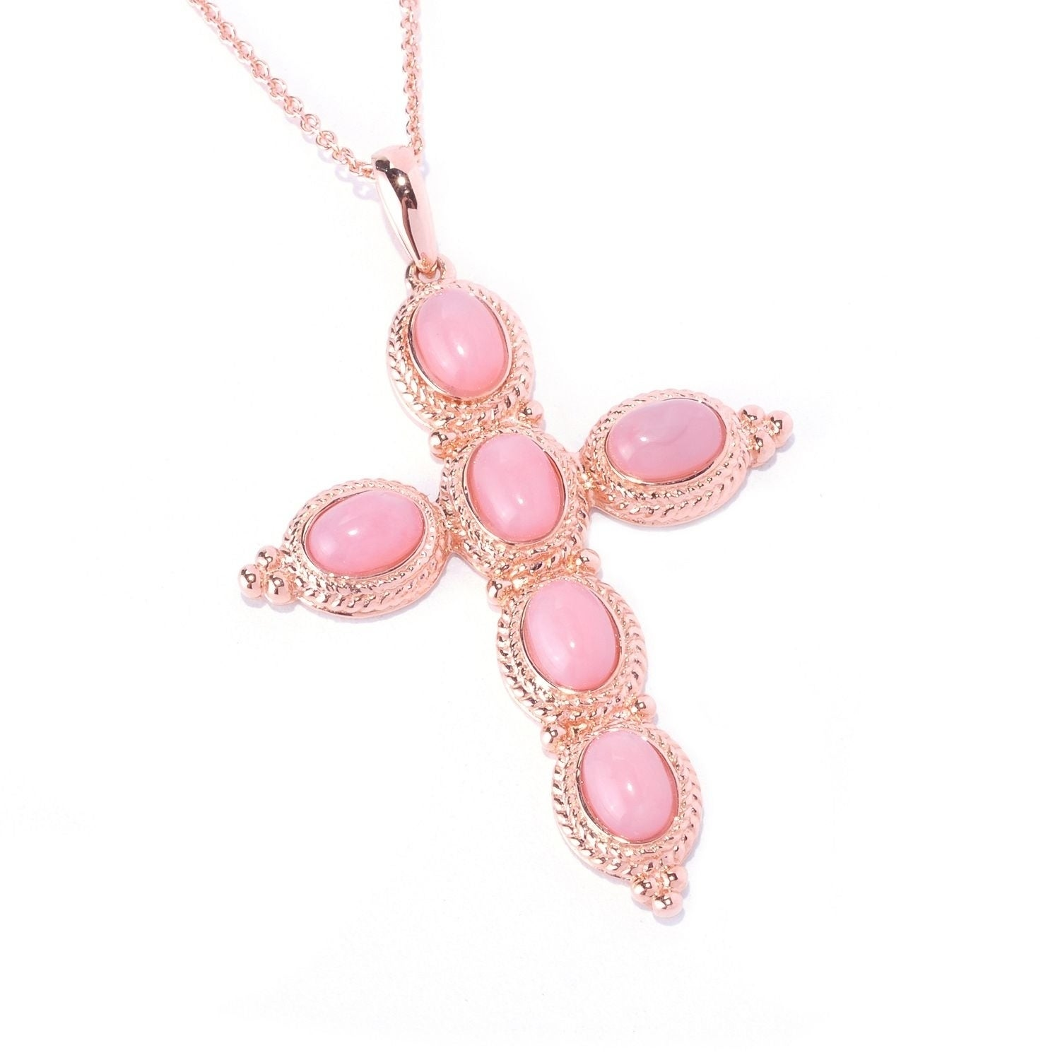 Pink Opal Double /& Diamond Round Shape Pendant .925 Sterling Silver