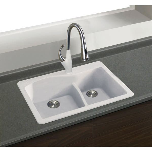 Shop Transolid Aversa Silq Granite 33 In Drop In Kitchen Sink With 3 Bde Faucet Holes On Sale Overstock 30778906