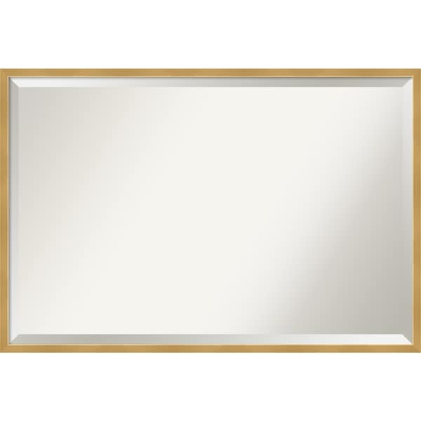 Polished Brass Gold Wood Framed Wall Mirror