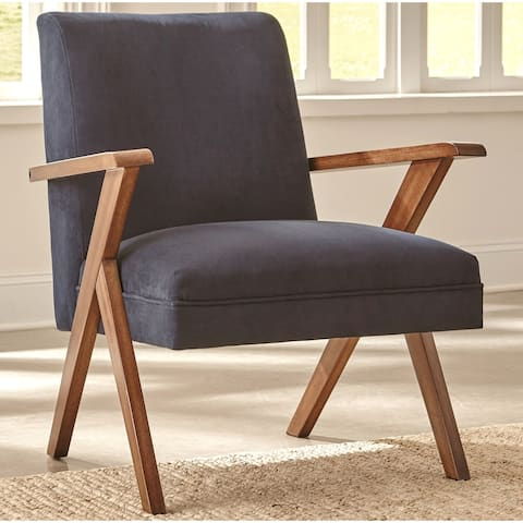 Mid-Century Modern Design Dark Blue Living Room Accent Chair - 1 Chair